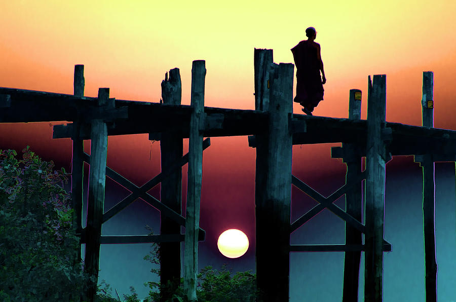 Sunset Over The U Bein Foot Bridge Photograph by Claude Letien