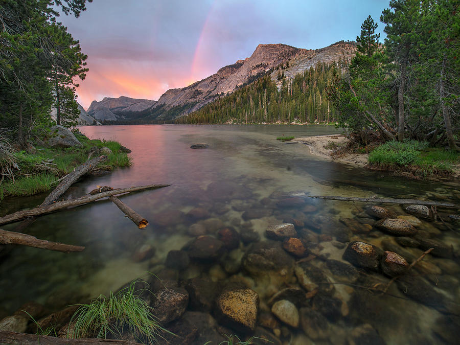 Sunset Rainbow At Lake Tenaya, Yosemite National Park, California by Tim Fitzharris