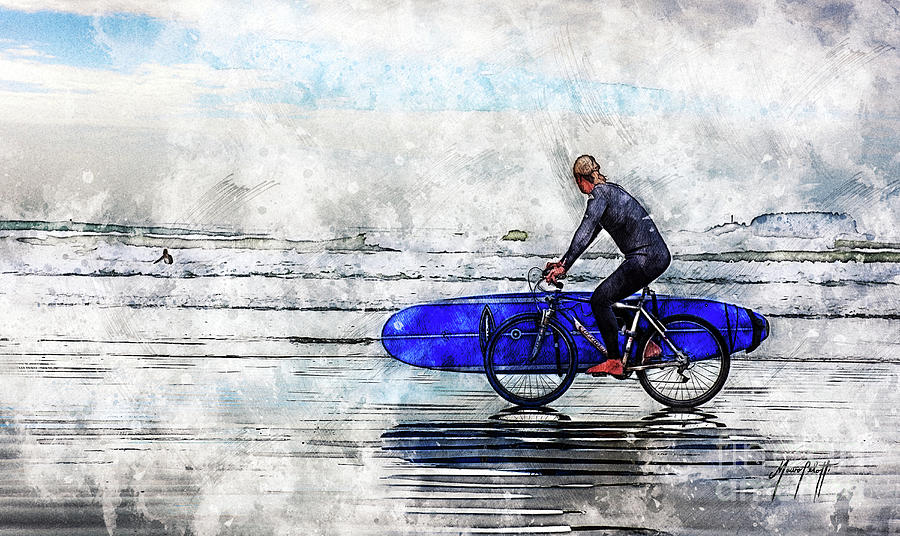 Surfer on Bike by Mauro Celotti