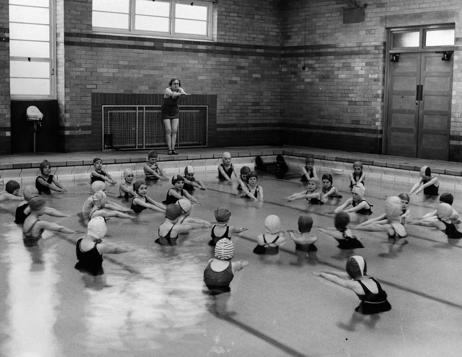 Swimming Lesson Photograph by Fox Photos