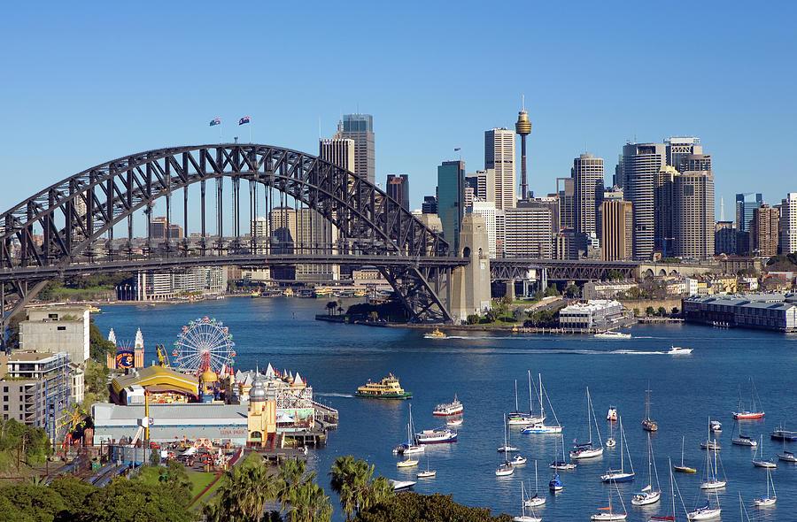 Sydney Harbour Bridge And Sydney Skyline Photograph by Scott E Barbour