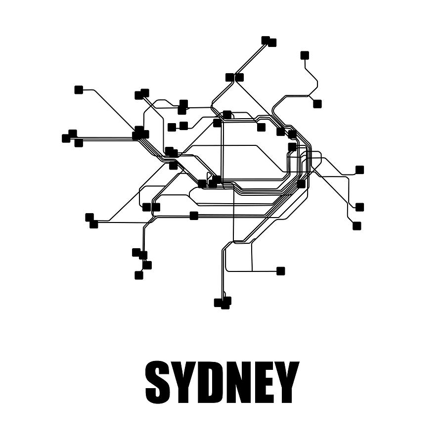 Black And White Subway Map Tapestry.Sydney White Subway Map By Naxart Studio