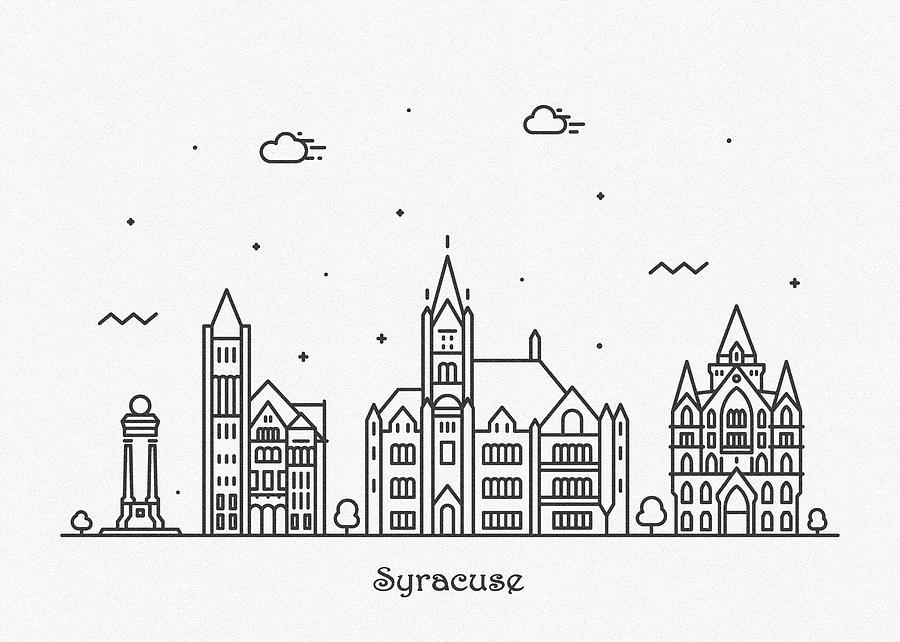 Syracuse Drawing - Syracuse, New York Cityscape Travel Poster by Inspirowl Design