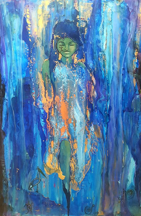 Water Painting - Taino Emergence by Lucy Giboyeaux