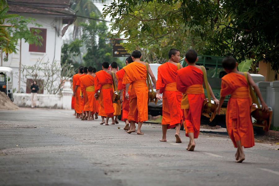 Tak Bat, Monks With Begging Bowls Photograph by Cormac Mccreesh