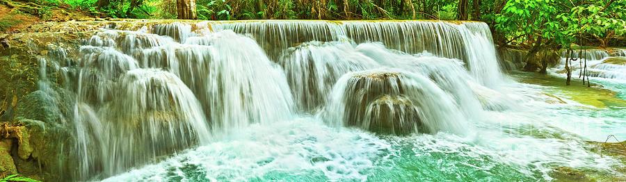 Tat Kuang Si Waterfalls. Beautiful Panorama Landscape. Laos. Photograph
