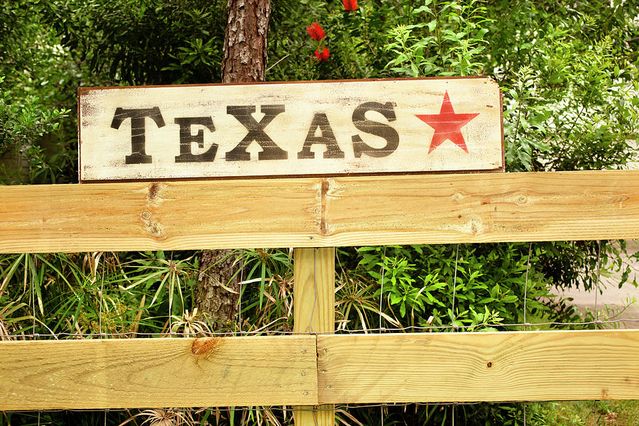Texas Sign With Star On Fence Photograph by Fstop123