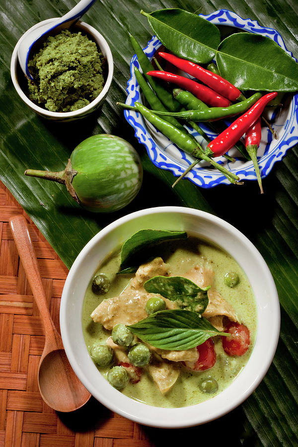 Thai Green Curry With Chicken Photograph by Shutterworx