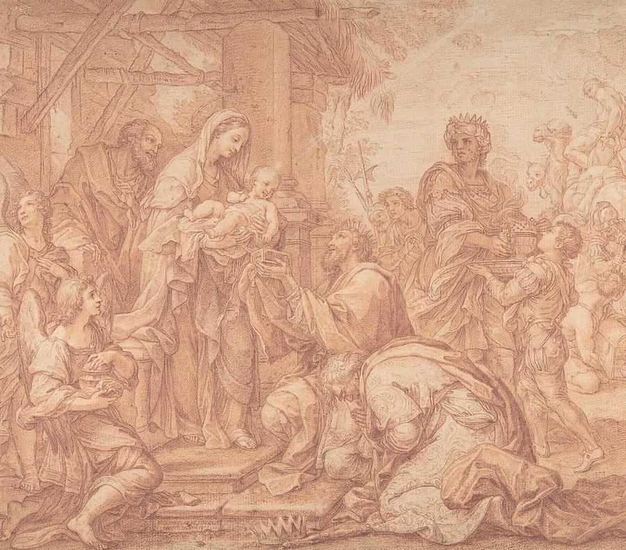 Italian Painters Drawing - The Adoration Of The Magi by Giuseppe Bartolomeo Chiari