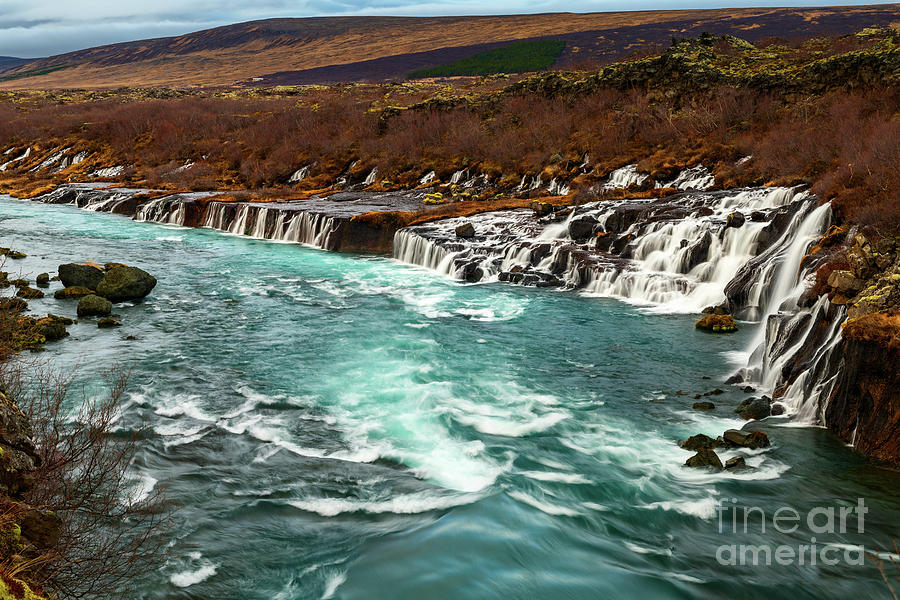 Waterfall Photograph - The Beautiful Cascades Of Hraunfossar In Iceland. by Jamie Pham