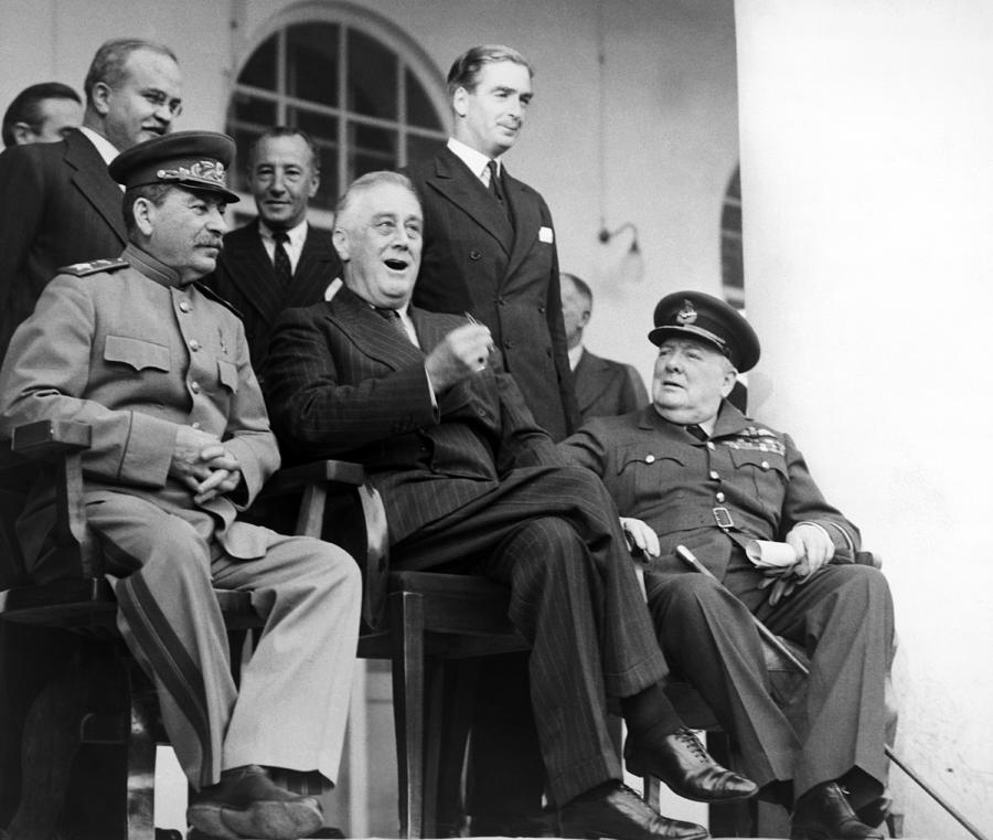 Fdr Photograph - The Big Three - Ww2 - Tehran Conference 1943 by War Is Hell Store