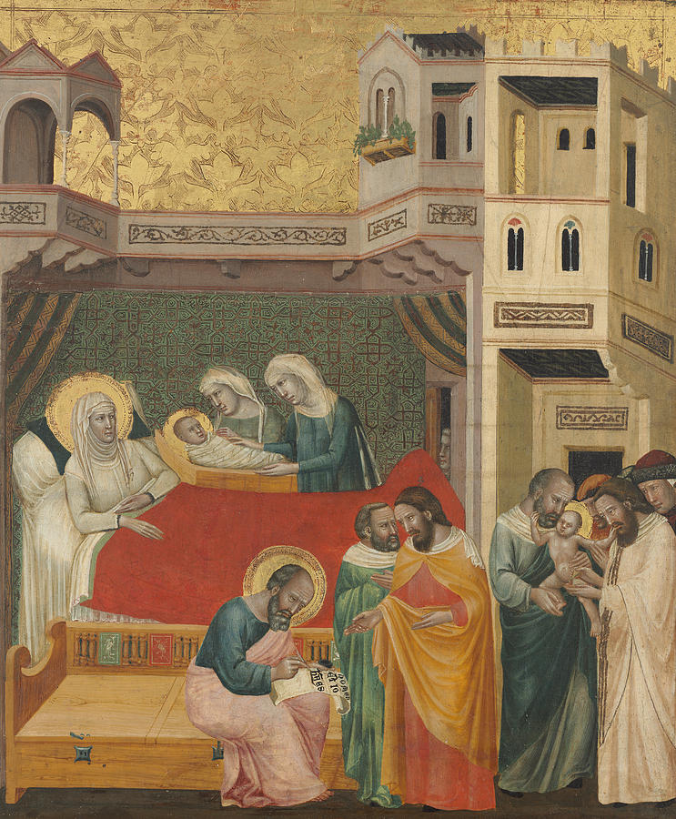 Italian Painters Painting - The Birth, Naming, And Circumcision Of Saint John The Baptist by Giovanni Baronzio