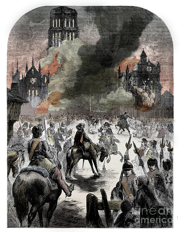 The Burning Of St Pauls Cathedral Drawing by Print Collector