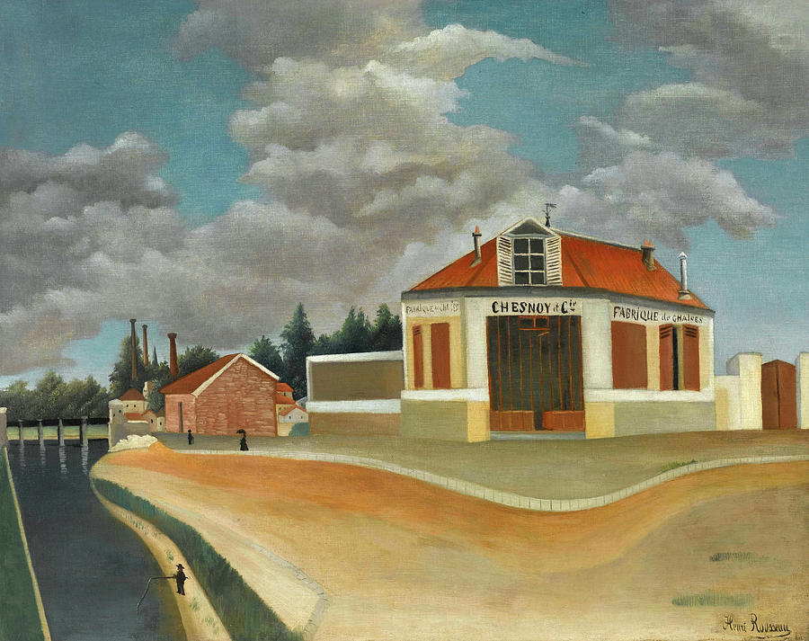 Alfortville Painting - The Chair Factory At Alfortville by Henri Rousseau & The Chair Factory At Alfortville Painting by Henri Rousseau