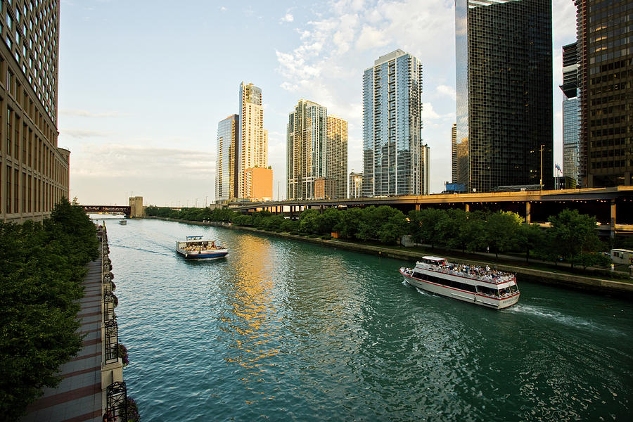 The Chicago River Runs In A Skyscrapers Photograph by Maremagnum