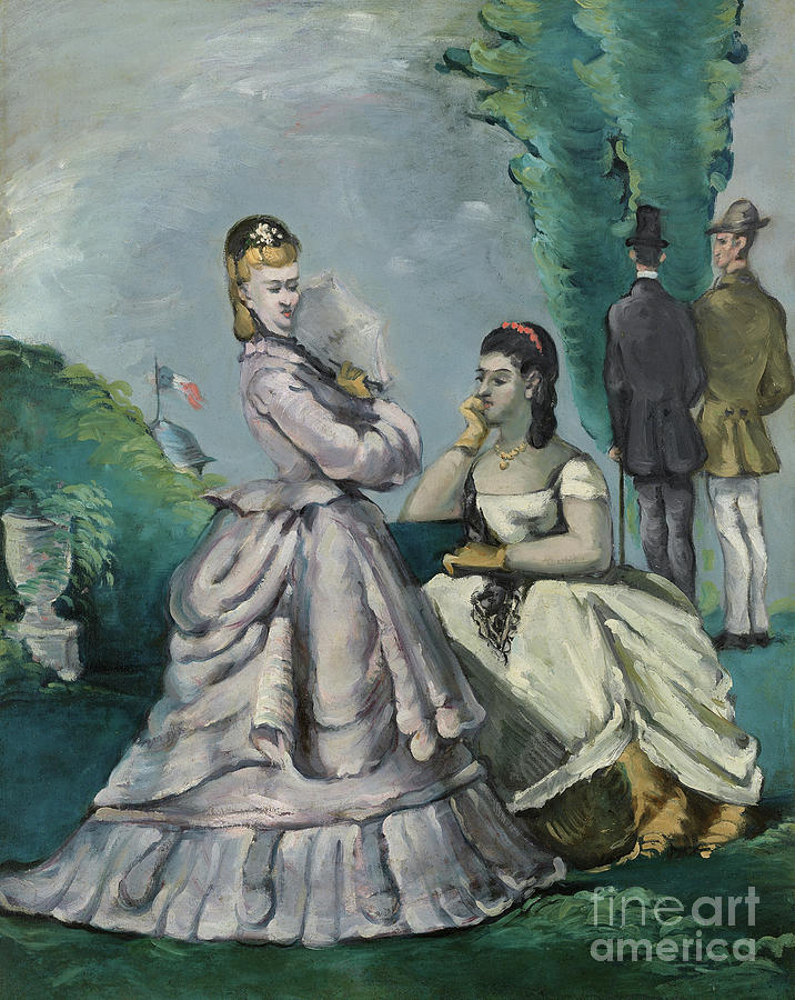 Cezanne Painting - The Conversation by Paul Cezanne