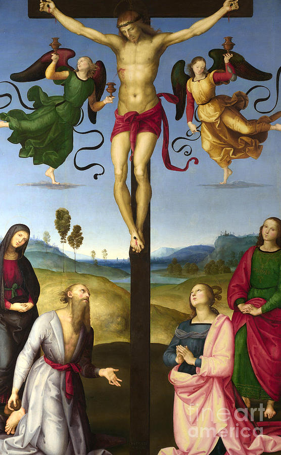 Christian Painting - The Crucified Christ With The Virgin Mary, Saints And Angels  The Mond Crucifixion 1 by Raphael