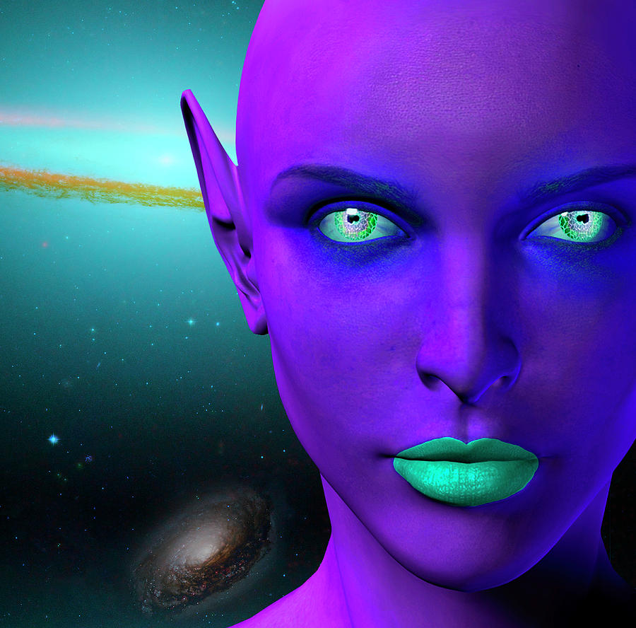 The Face Of A Female Alien. Colorful by Bruce Rolff