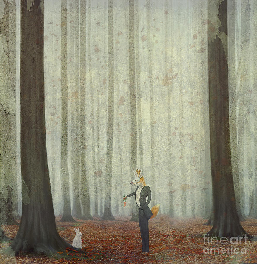 Magic Digital Art - The Fox In A Wood To Hunt On A Hare by Natalia maroz