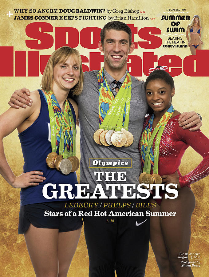 The Greatests Ledecky  Phelps  Biles Sports Illustrated Cover Photograph by Sports Illustrated