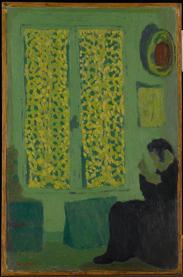 Edouard Vuillard Painting - The Green Interior  Figure Seated By A Curtained Window   by Edouard Vuillard