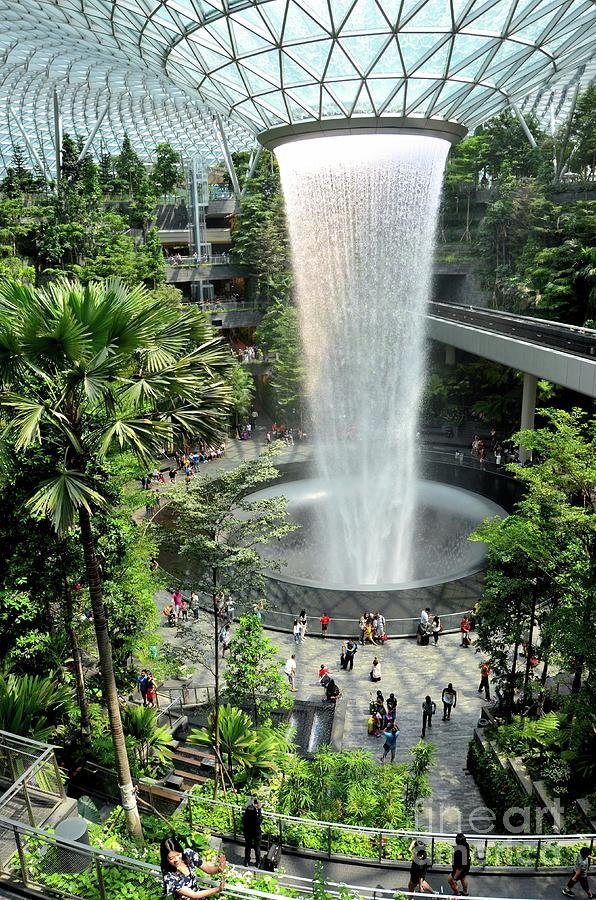 The Jewel waterfall monorail track gardens and visitors Changi Airport Singapore by Imran Ahmed