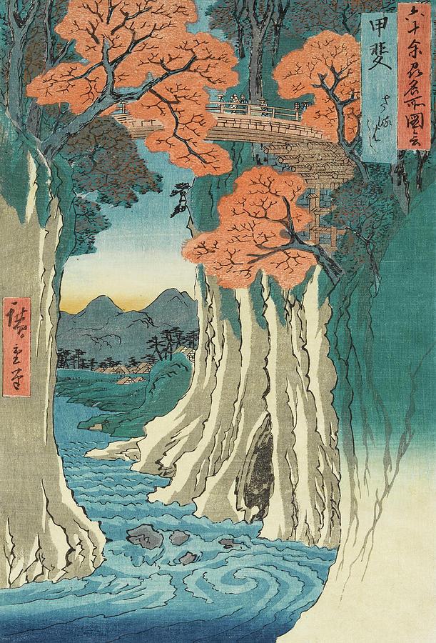 Utagawa Hiroshige Painting - The monkey bridge in the Kai province by Utagawa Hiroshige