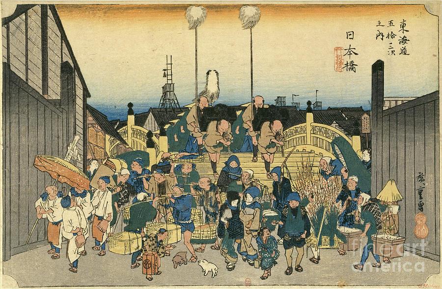 The Nihon-Bashi Bridge in the morning by Utagawa Hiroshige