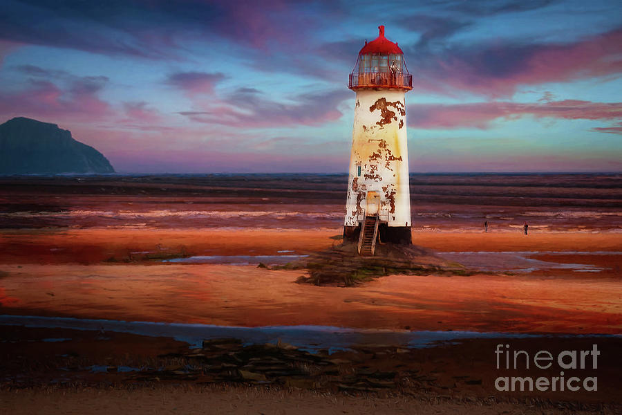 Lighthouse Photograph - The Point Of Ayr Lighthouse Sunset 2 by Adrian Evans