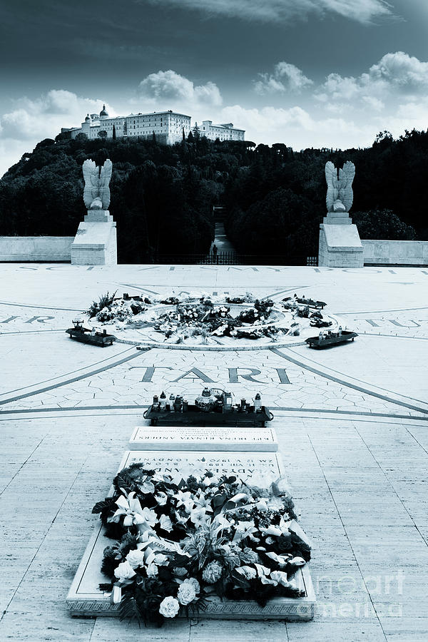 The Polish Cemetery at Montecassino with wreathes and the abbey  by Peter Noyce
