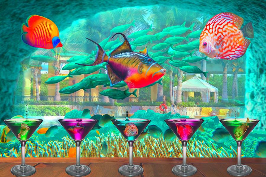 The Reef Martini Bar Watercolor Painting by Debra and Dave Vanderlaan