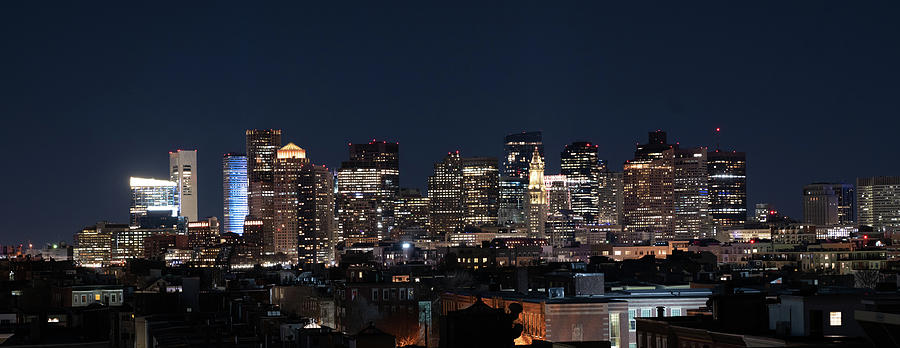 The skyline of Boston in Massachusetts, USA on a clear Winter ev by Kyle Lee