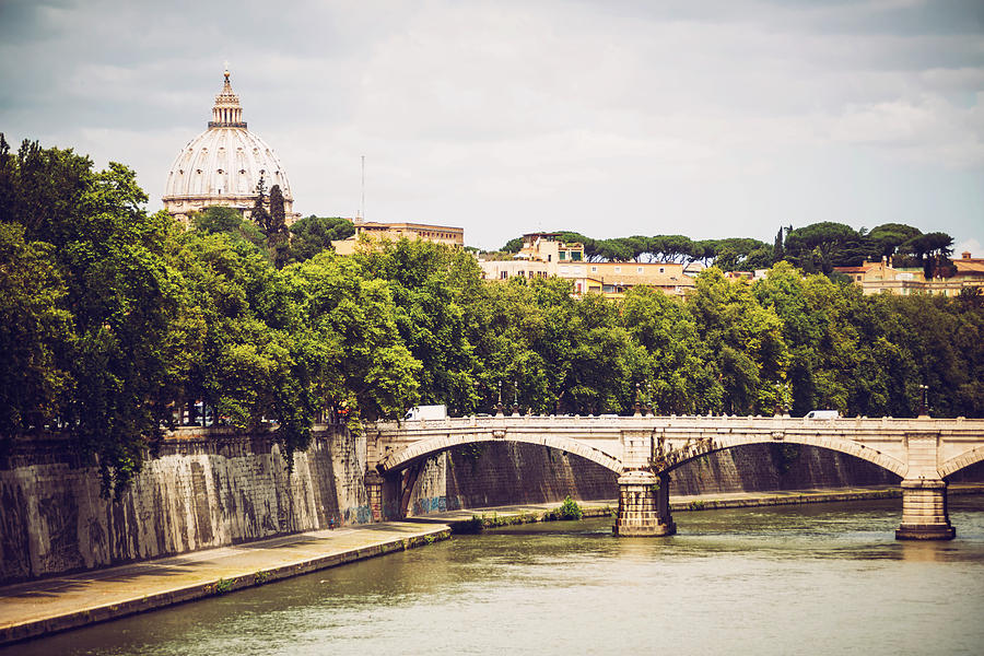 The Tiber river in Rome and St. Peter Basilica, Italy by Eduardo Huelin