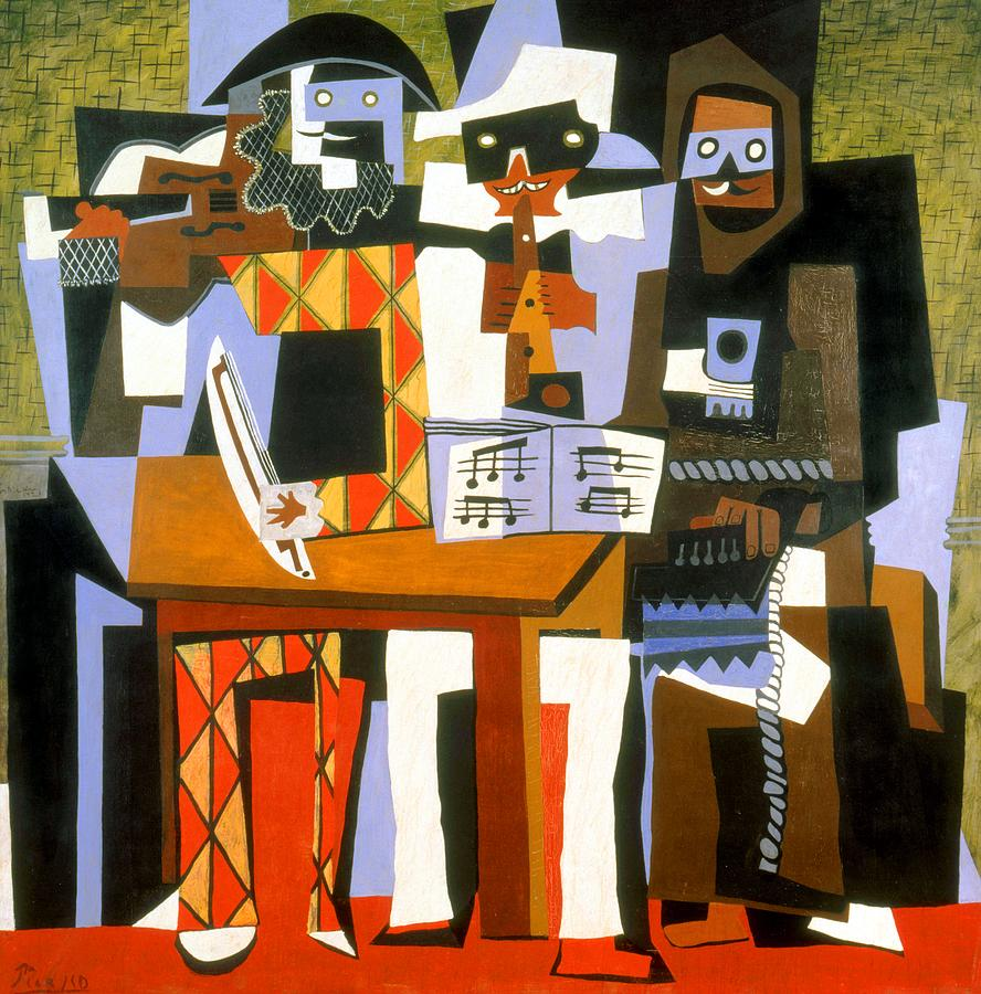 Three Musicians Painting By Pablo Picasso