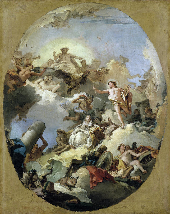 1765 Painting - The Apotheosis of the Spanish Monarchy, c1765 by Giovanni Battista Tiepolo