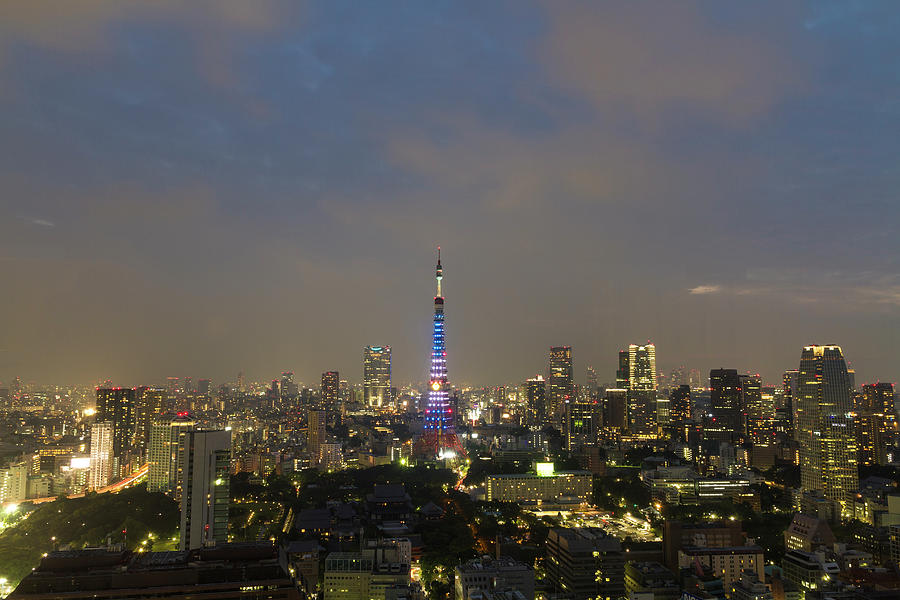 Tokyo Tower Doraemon Blue Special Light Photograph by Photo By Yasa