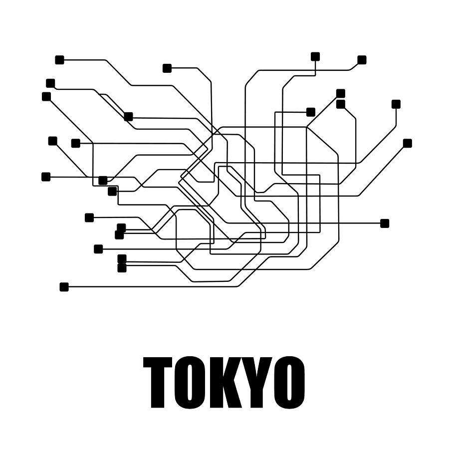 Black And White Subway Map.Tokyo White Subway Map By Naxart Studio