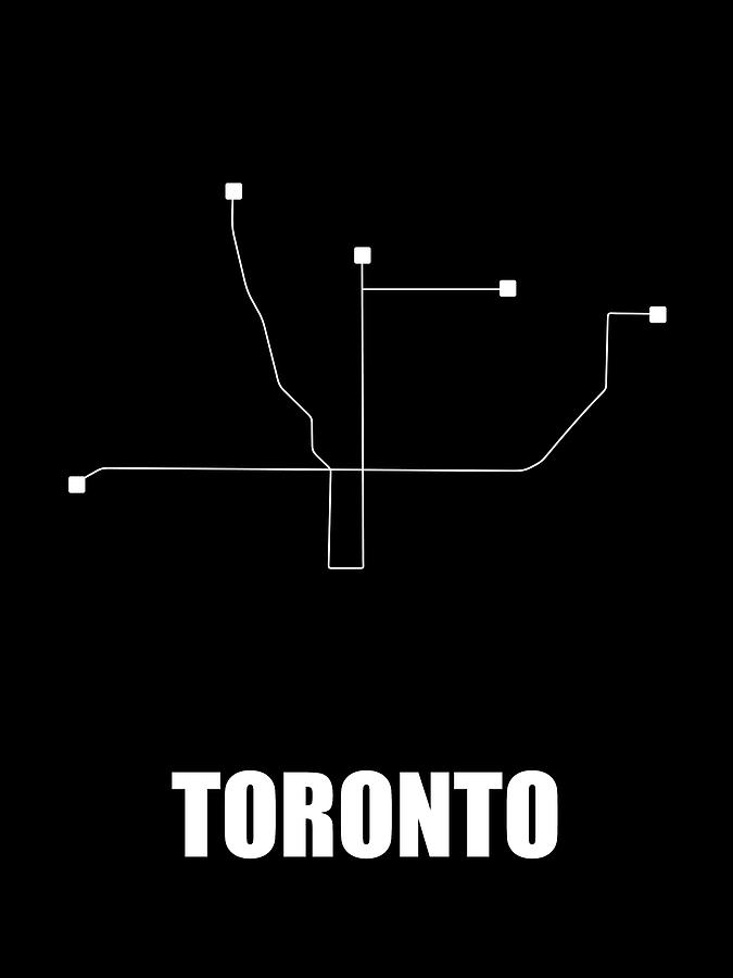 Toronto Digital Art - Toronto Black Subway Map by Naxart Studio