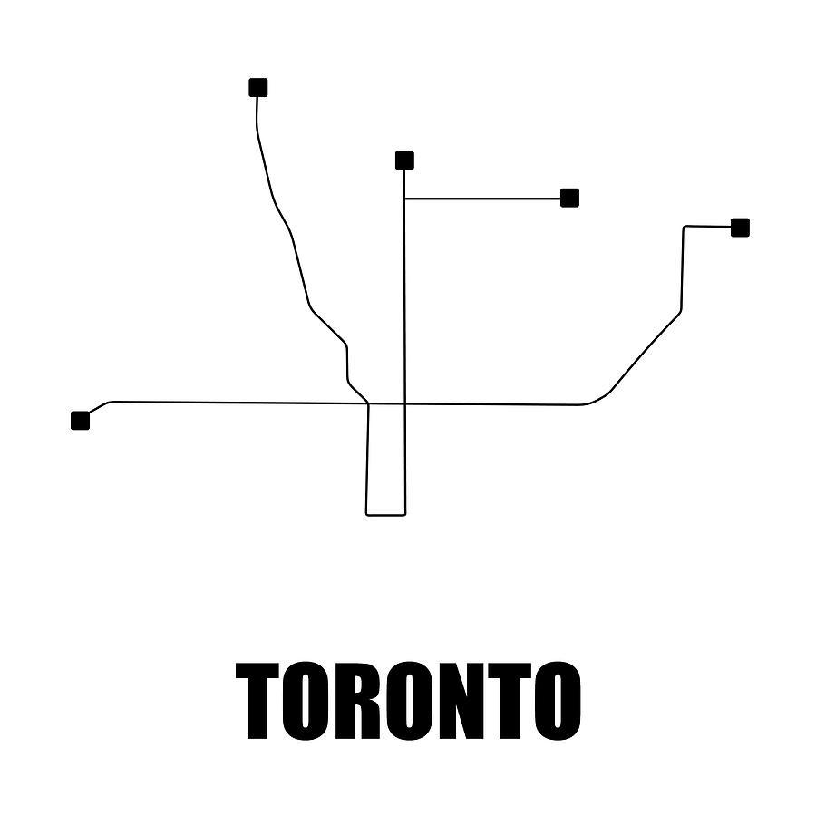 Toronto Digital Art - Toronto White Subway Map by Naxart Studio