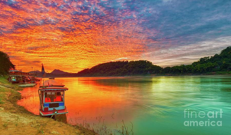 Touristic Boat At Sunset. Beautiful Landscape. Luang Prabang. La Photograph
