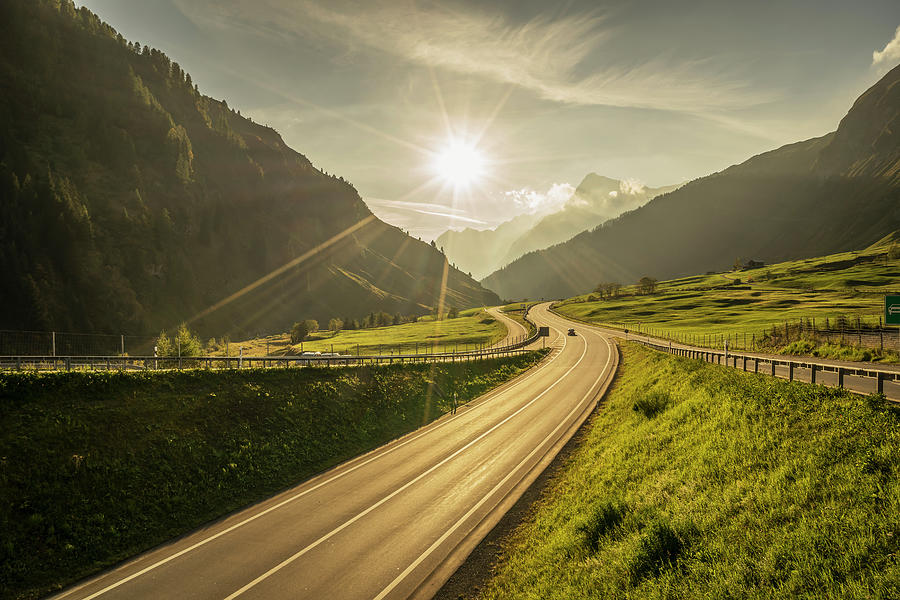 Traffic On A Mountain Road Photograph by Buena Vista Images