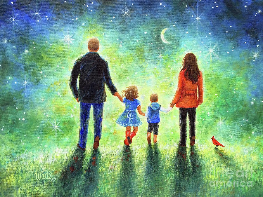 Moon And Stars Painting - Twilight Walk With Mom And Dad by Vickie Wade