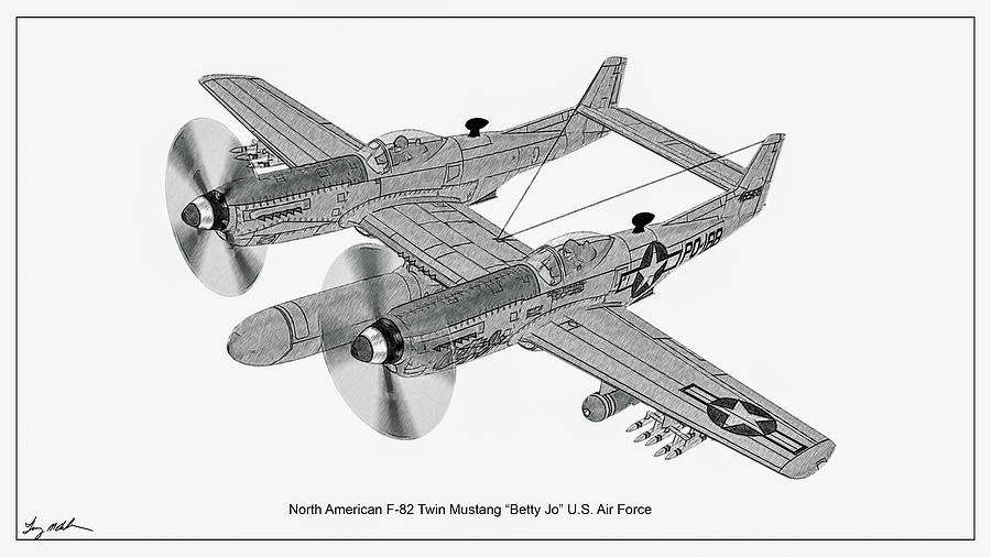 Twin Mustang Sketch by Tommy Anderson