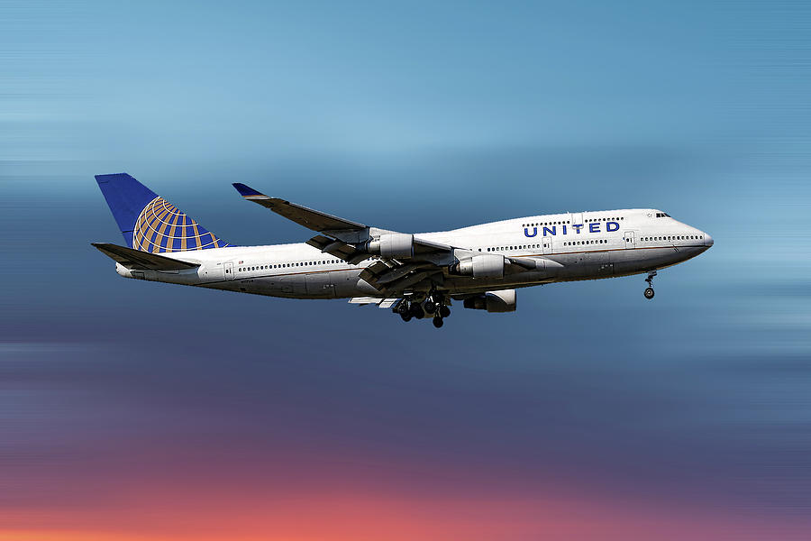 United Airlines Mixed Media - United Airlines Boeing 747-422 by Smart Aviation