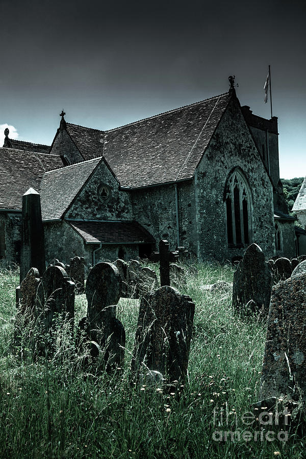 unkempt overgrown gravestones in the churchyard of St Mary's chu by Peter Noyce