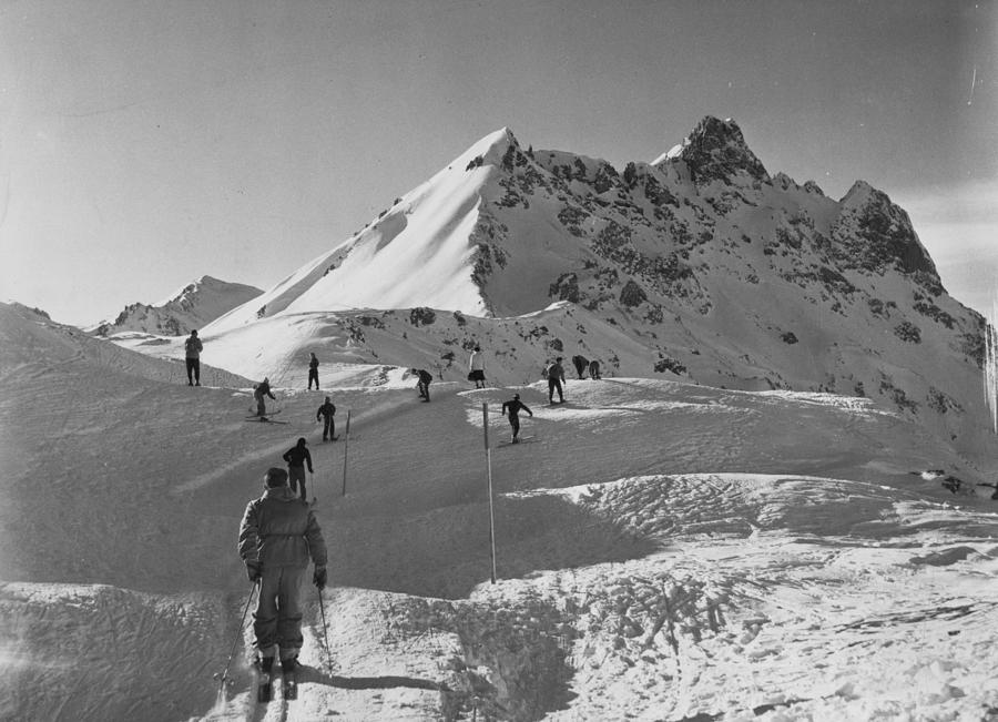 Uphill Skiers Photograph by Bert Hardy