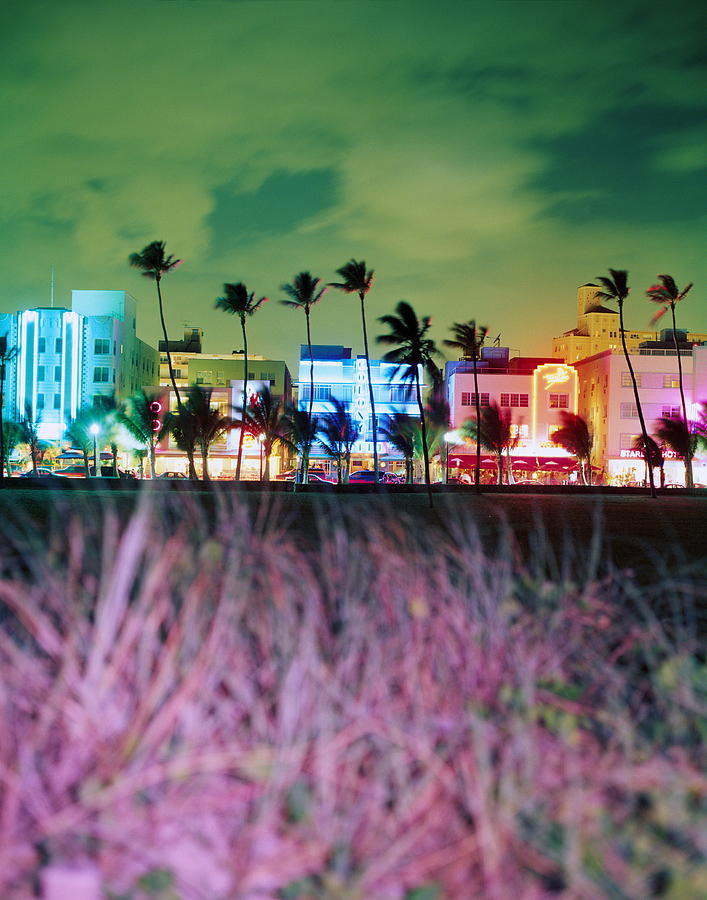 Usa, Florida, Miami, Ocean Drive, Night Photograph by Jerry Driendl