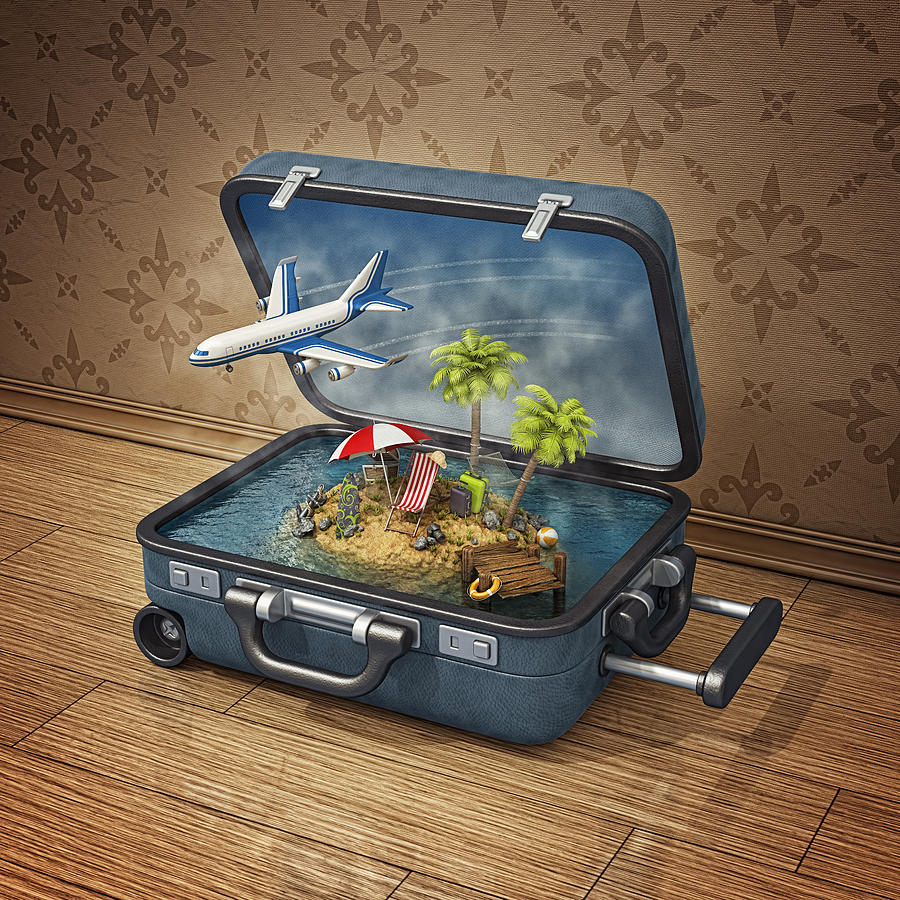 Vacation Island In Suitcase Photograph by Pagadesign