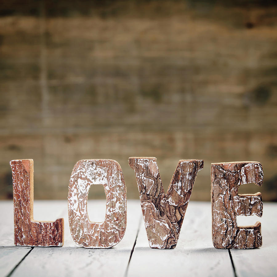 Valentine's Day Concept  Love Wooden Letters On White Rustic Background