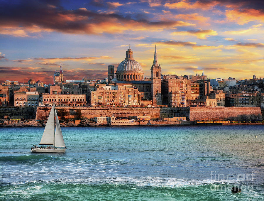 Valletta church from the Point at sunset by Stephan Grixti